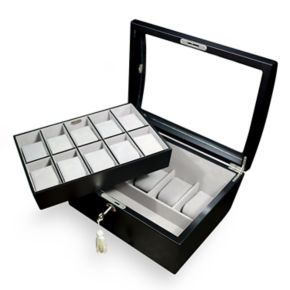 Mele & Co. Brenton Glass Top Wooden Watch Box