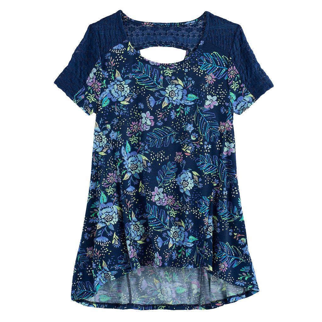 Girls 7-16 & Plus Size Mudd® Lace-Pieced Keyhole Swing Tee