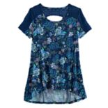 Girls 7-16 & Plus Size Mudd® Lace-Pieced Keyhole Swing Tee