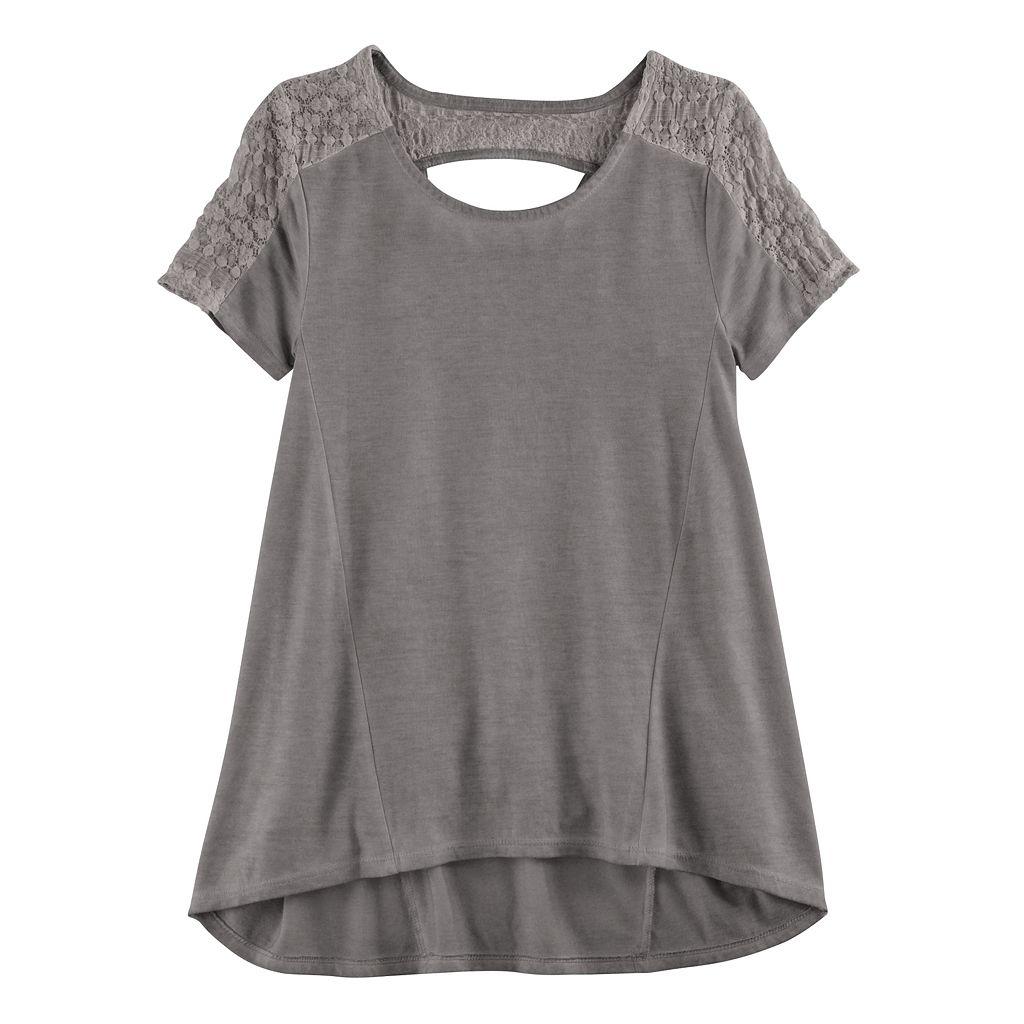 Girls 7-16 & Plus Size Mudd® Lace Keyhole Swing Tee