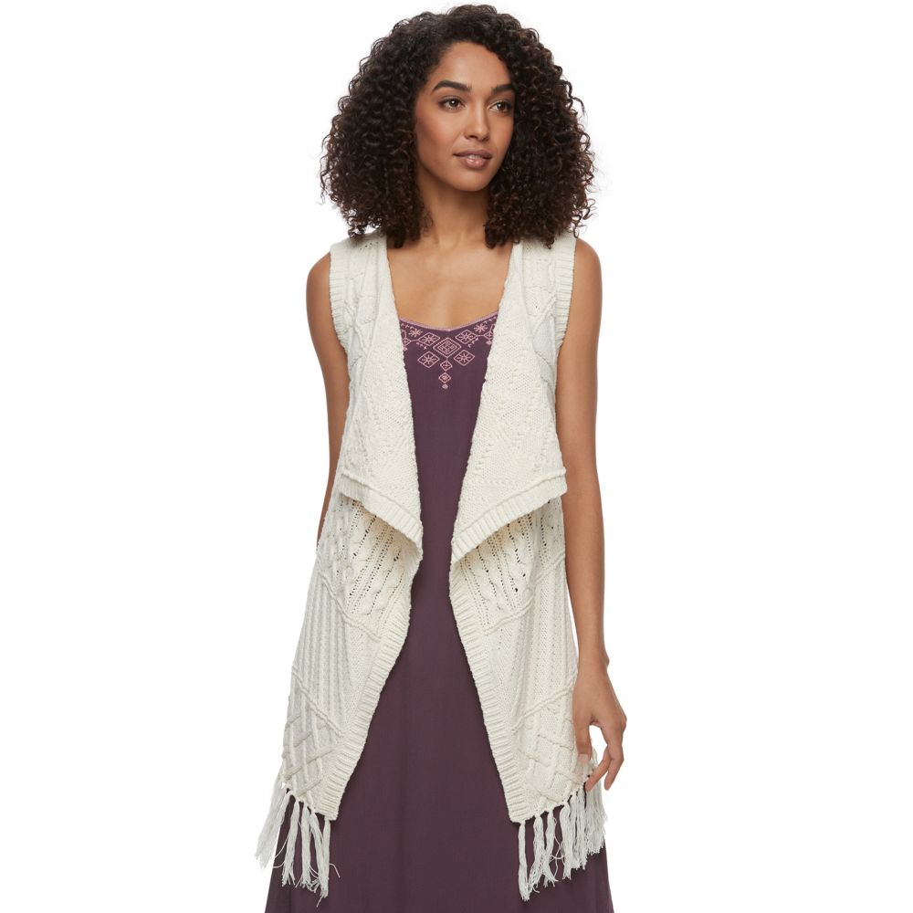 SONOMA Goods for Life™ Cable-Knit Fringe Vest