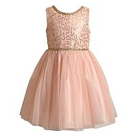 Girls 4-6X Youngland Sequin & Lace Dress