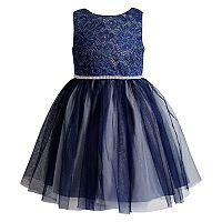 Girls 4-6x Youngland Crocheted Lace Glitter Mesh Dress