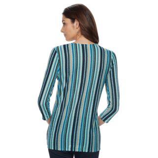 Women's Dana Buchman Printed Bias Cut V-Neck Top
