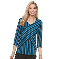 Women's Dana Buchman Printed Bias Cut V-Neck Top