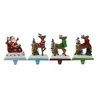 St. Nicholas Square® Santa & Reindeer Christmas Stocking Holder 4-piece Set