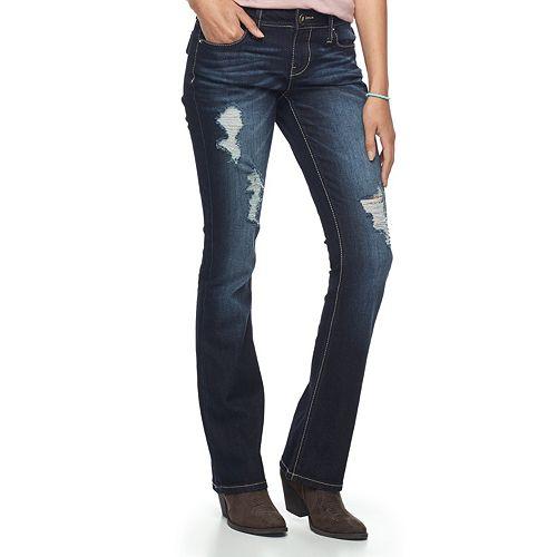 5c5640180a9 Juniors' Hydraulic Lola Curvy Ripped Micro Bootcut Jeans