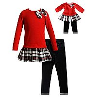 Girls 4-14 Dollie & Me Plaid Sweater Dress & Leggings Set