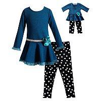 Girls 4-14 Dollie & Me Dress & Polka Dot Leggings Set