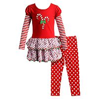 Girls 4-6X Youngland 2-pc. Candy Cane Dress & Legging Set