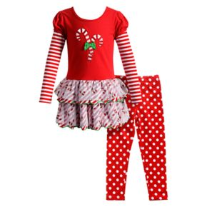 Girls 4-6X Youngland 2-pc. Candy Cane Dress & Legging Set