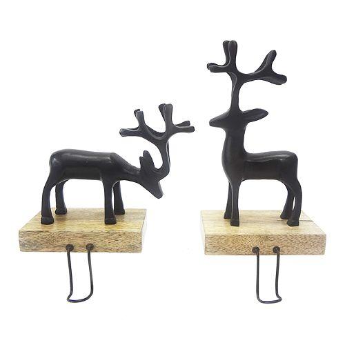 St. Nicholas Square® Reindeer Christmas Stocking Holder 2-piece Set