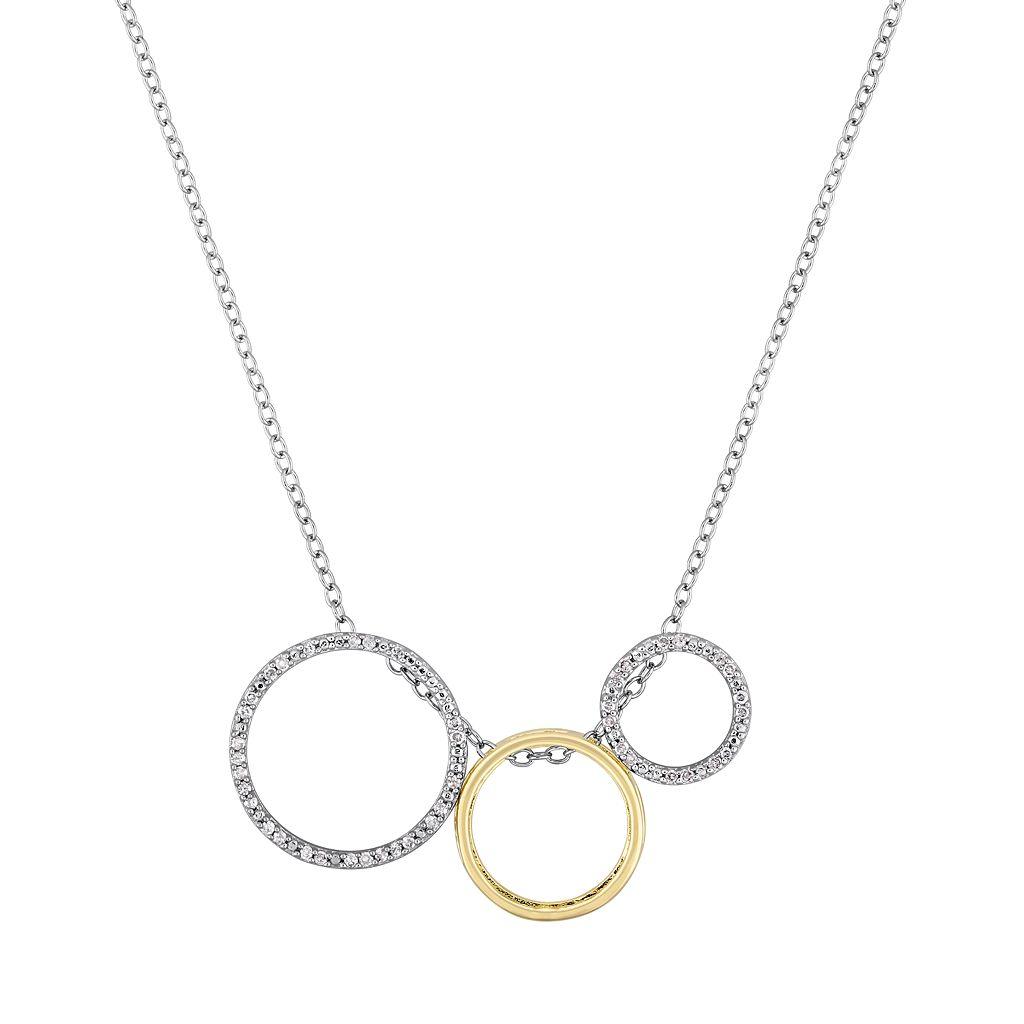Two Tone Sterling Silver 1/6 Carat T.W. Diamond Interchangeable Circle Pendant