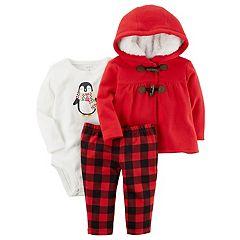 Baby Girl Carter's Sherpa Hood Cardigan, Penguin Bodysuit & Buffalo Checkered Pants Set