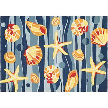 Couristan Beachfront Gold Beach Shell Indoor Outdoor Rug