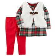 Baby Girl Carter's Sherpa Toggle Vest, Plaid Dress & Leggings Set