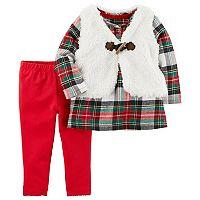 Baby Girl Carter's Sherpa Toggle Vest, Plaid Dress & Leggings Set