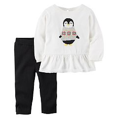 Baby Girl Carter's Penguin Peplum Sweater & Ribbed Leggings Set