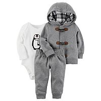 Baby Boy Carter's Toggle Hoodie, Penguin Bodysuit & Jogger Pants Set