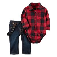 Baby Boy Carter's Buffalo Checkered Bodysuit & Suspender Jeans Set