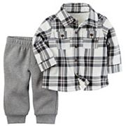 Baby Boy Carter's Sherpa-Lined Plaid Shirt & Pants Set