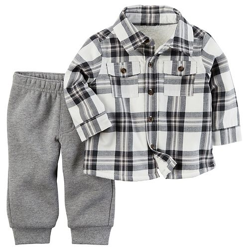 Baby Boy Carter's Sherpa-Lined Plaid Shirt & Pants Set