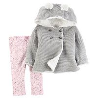 Baby Girl Carter's Knit Hooded Cardigan & Floral Leggings Set