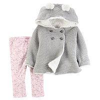 Baby Girl Carter's Knit Hooded Cardigan & Floral Leggings Set