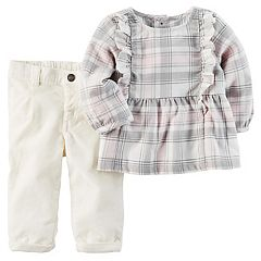 Baby Girl Carter's Ruffled Plaid Top & Corduroy Pants Set