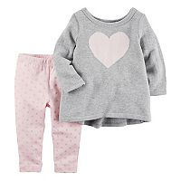Baby Girl Carter's Heart Pullover Sweater & Polka-Dot Leggings Set