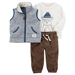 Baby Boy Carter's Marled Sherpa Vest, Slubbed Polar Bear Tee & Corduroy Pants Set