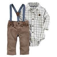 Baby Boy Carter's Checked Bodysuit & Suspender Pants Set