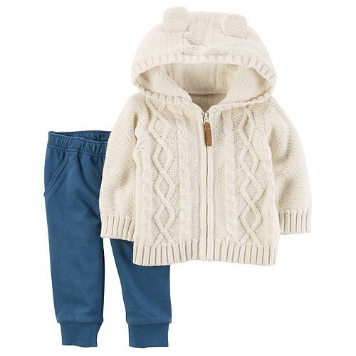 Baby Girl Carters Cable Knit Hooded Cardigan Pants Set