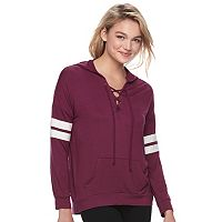 Juniors' Pink Republic Lace-Up Long Sleeve Hoodie