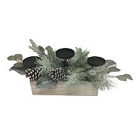 St. Nicholas Square® Artificial Pine & Eucalyptus 3 tier Pillar Candle Holder