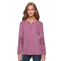 Women's Apt. 9® Lace-Trim Henley Top