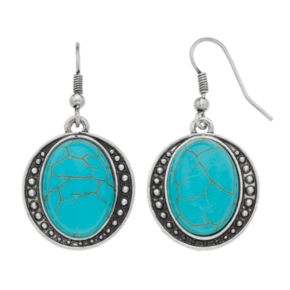 Simulated Turquoise Cabochon Nickel Free Drop Earrings