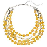 Yellow Composite Shell Beaded Multi Strand Necklace