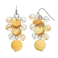 Yellow Composite Shell Cluster Drop Earrings