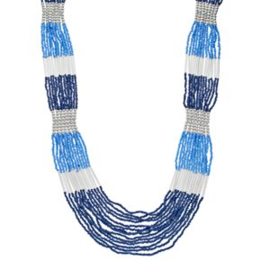 Long Blue Colorblock Multi Strand Necklace