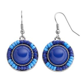 Blue Seed Bead & Cabochon Drop Earrings