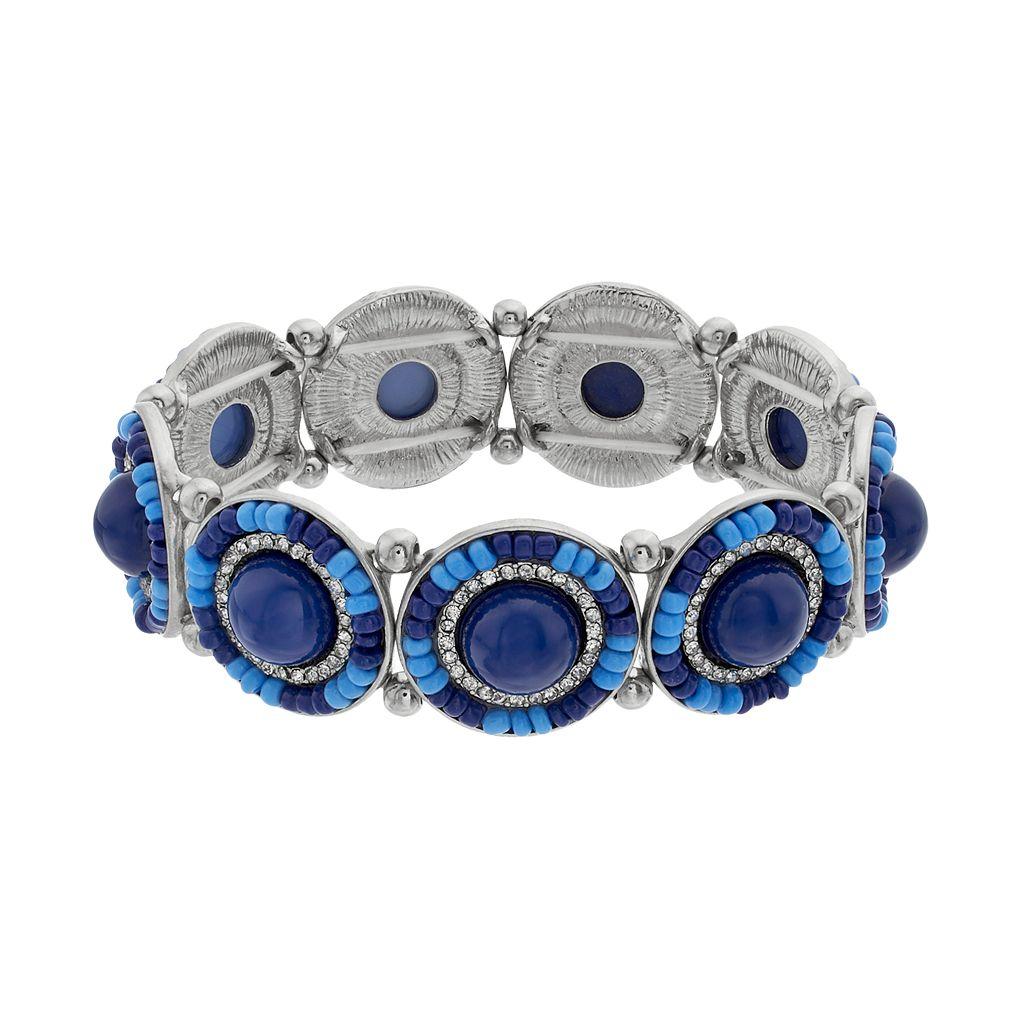 Blue Seed Bead Medallion Stretch Bracelet