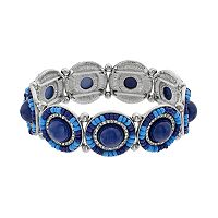 Blue Seed Bead Medallion Stretch Bracelet