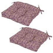 Outdoor 2 pc Reversible Tufted Seat Pad Cushion Set