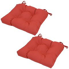 Outdoor 2-piece Reversible Tufted Seat Pad Cushion Set