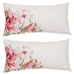 Outdoor 2 pc Reversible Oblong Throw Pillow Set