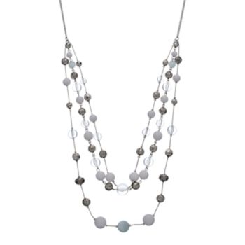White Beaded Swag Necklace