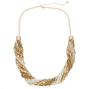 White Seed Bead Torsade Necklace