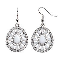 White Cabochon Teardrop Earrings