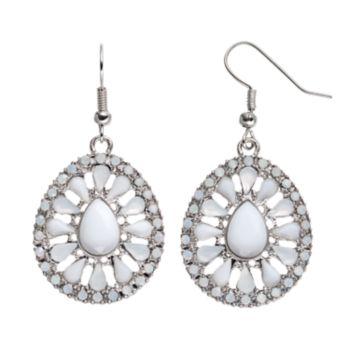White Cabochon Teardrop Earrings